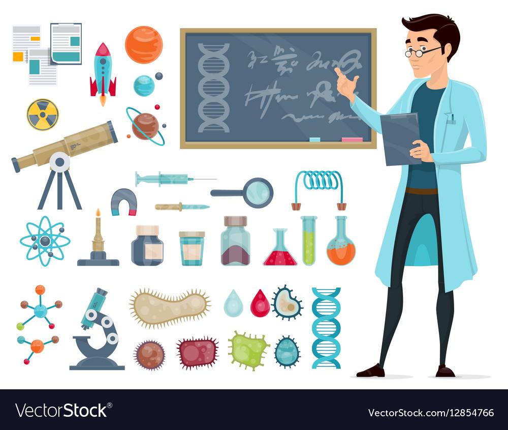 Scientific Icons Set vector image
