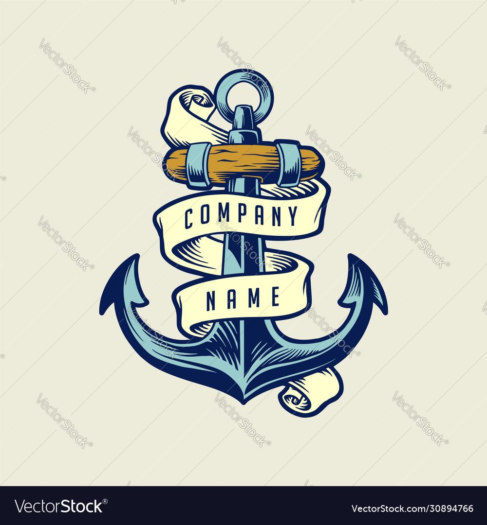 Ship anchor vintage with ribbon