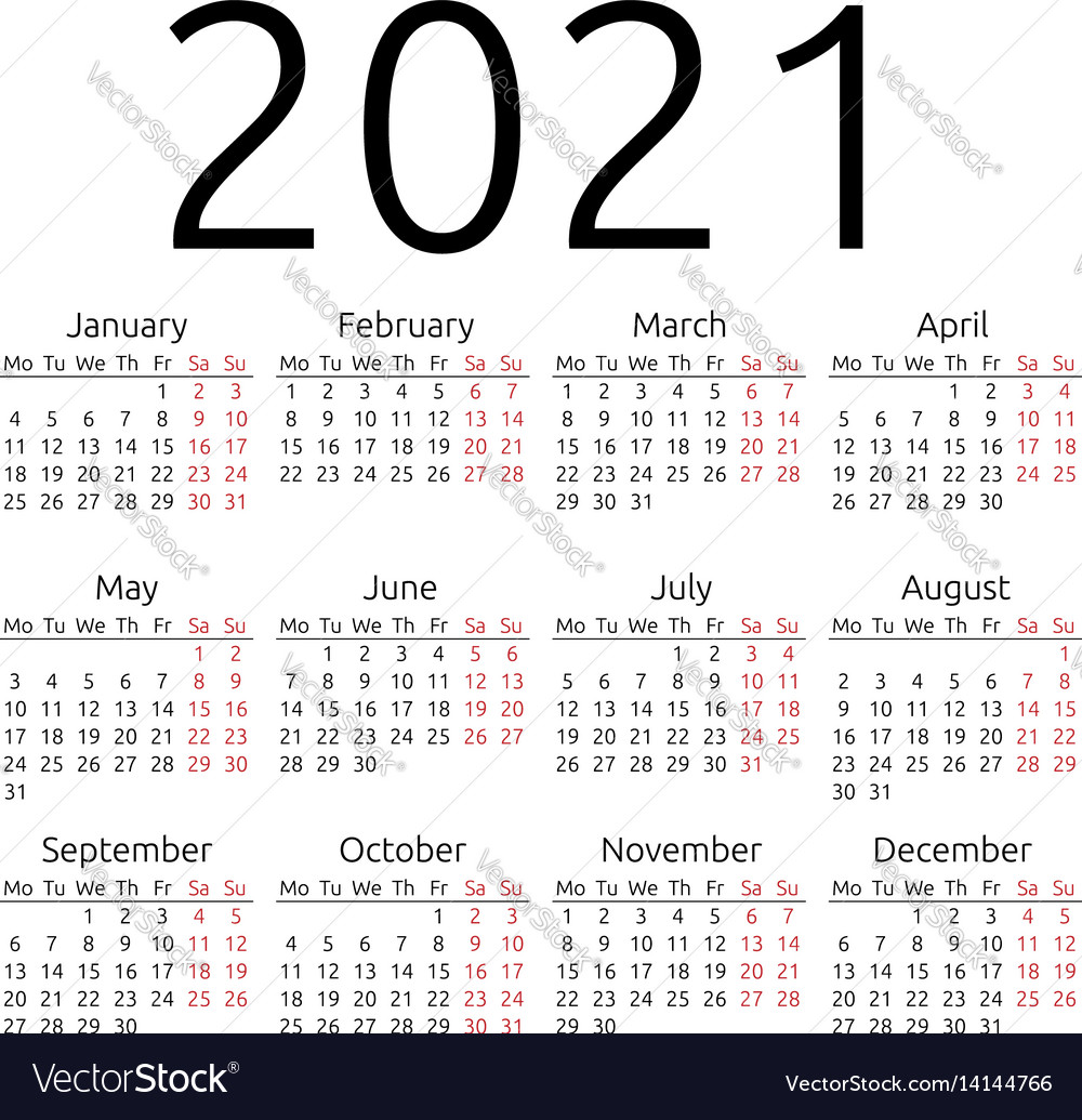 Simple calendar 2021 monday Royalty Free Vector Image