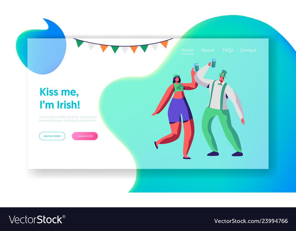 St patrick day young irish couple dance web page