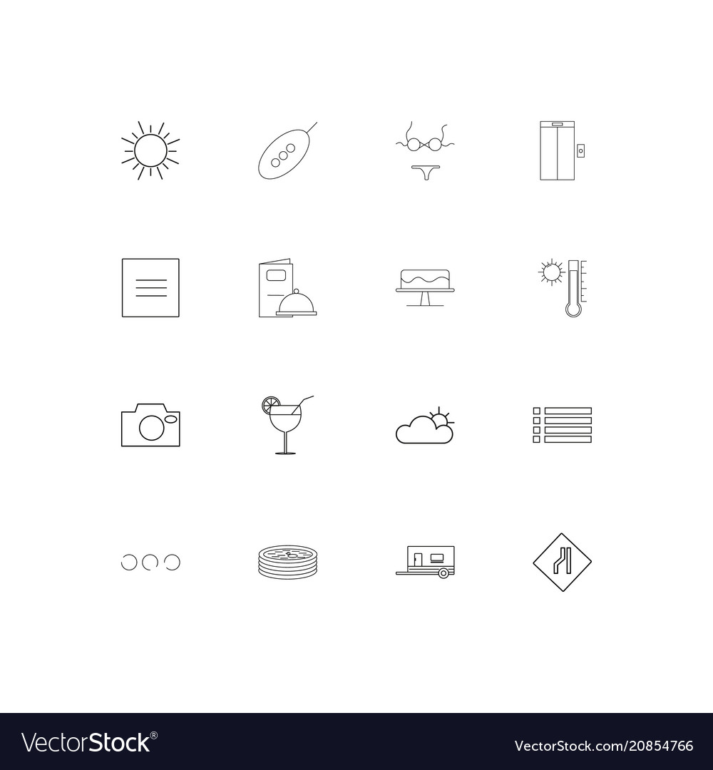 Travel and tourism linear thin icons set outlined
