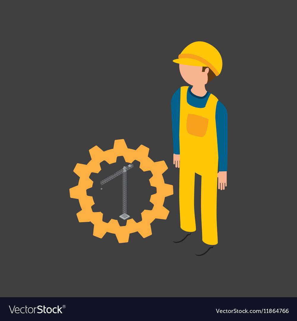 Under construction gear crane icon
