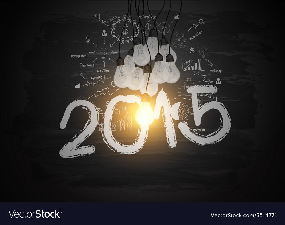 Bright light bulb illuminate the number 2015 vector image