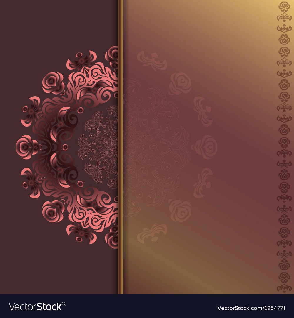 Card with abstract roses pattern vector image