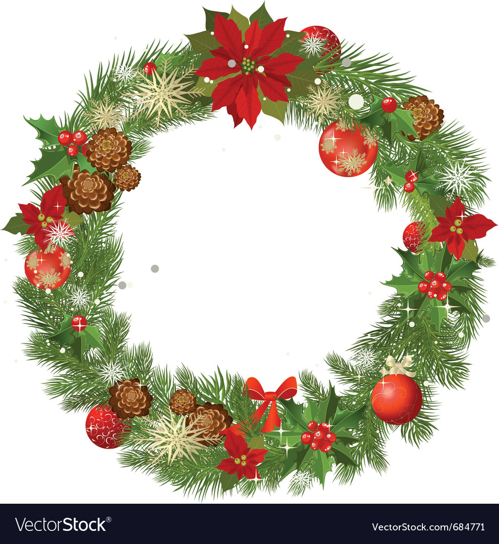 christmas garland frame royalty free vector image