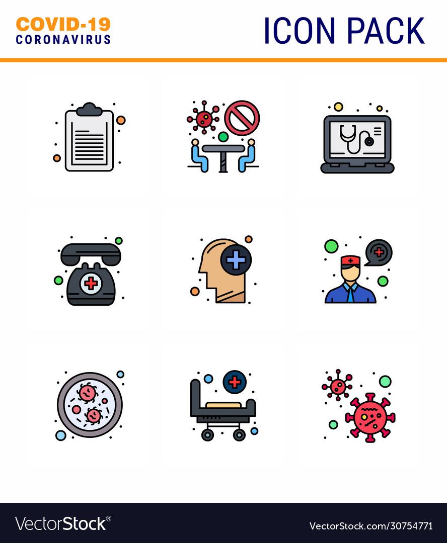 Coronavirus awareness icon 9 filled line flat