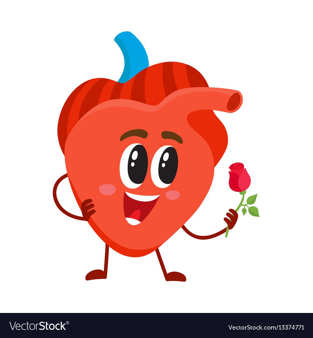 Cute and funny smiling human heart character