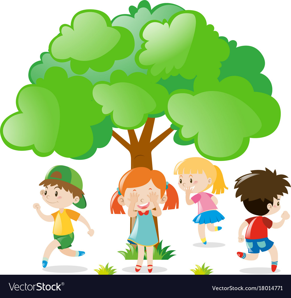 kids playing hide and seek in the park royalty free vector