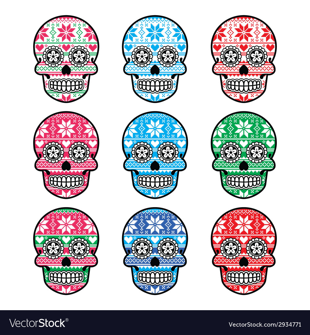 Mexican sugar skull with winter Nordic pattern vector image
