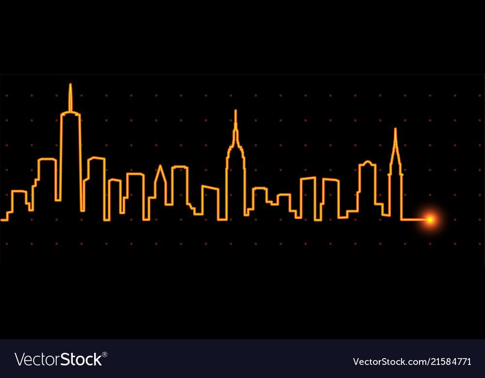 New york light streak skyline