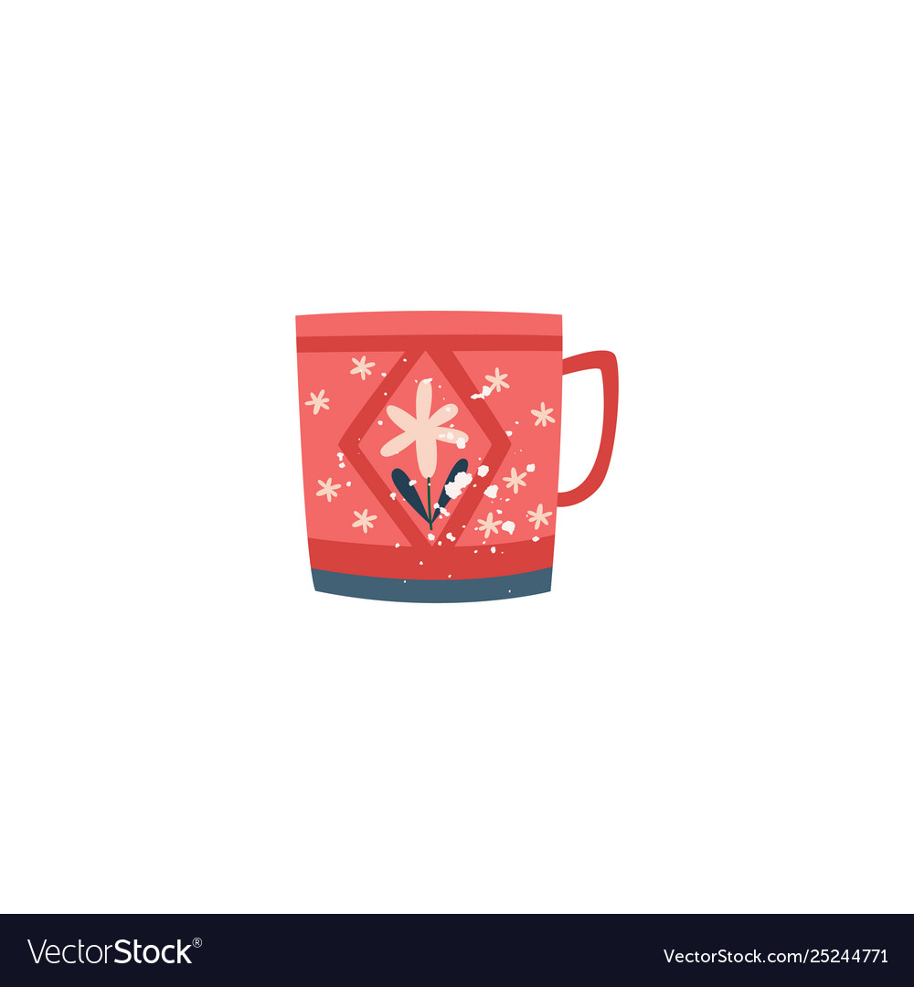 Red ceramic cup with flower decor in flat cartoon
