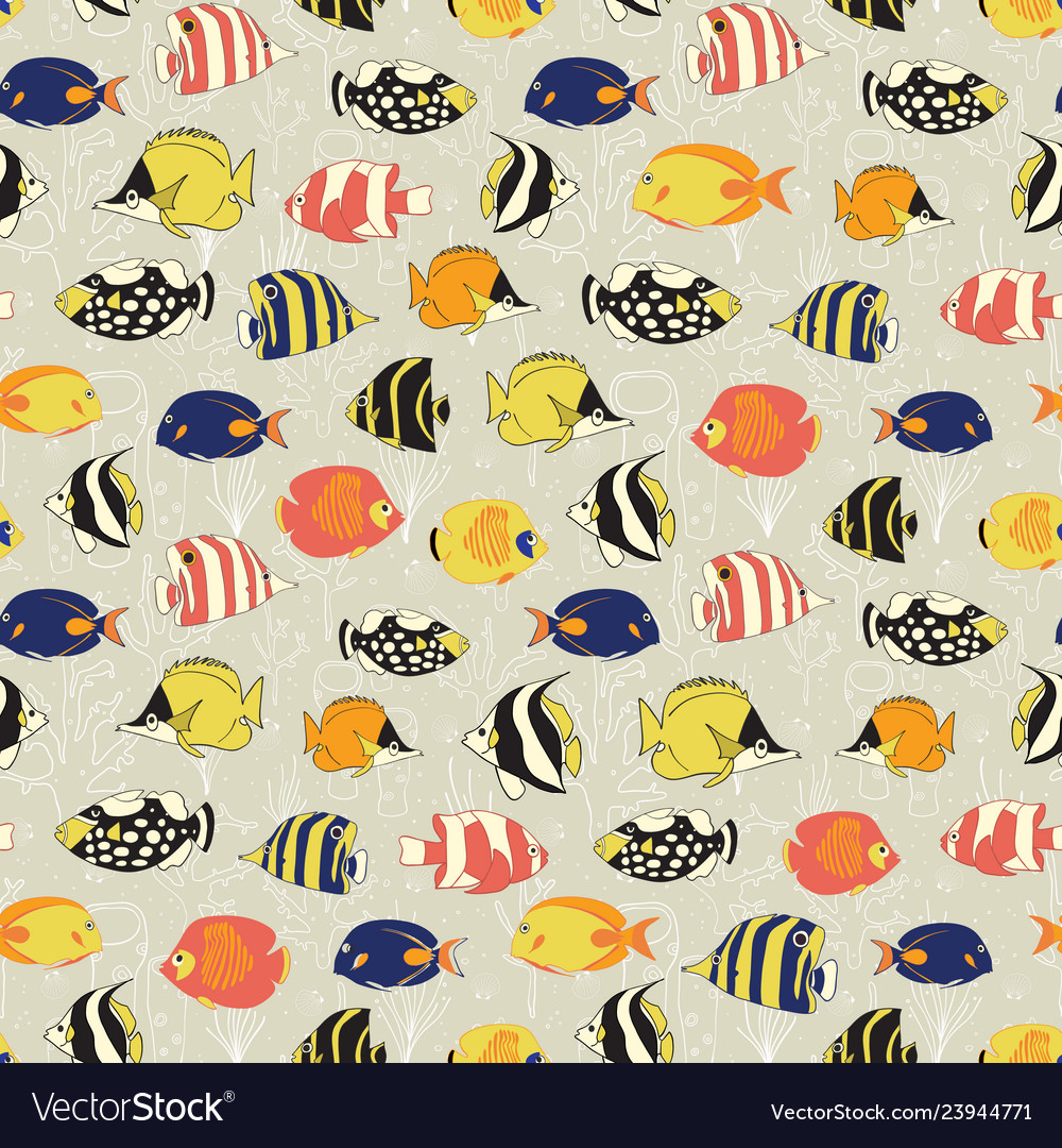 Seamless fish pattern tropical reef
