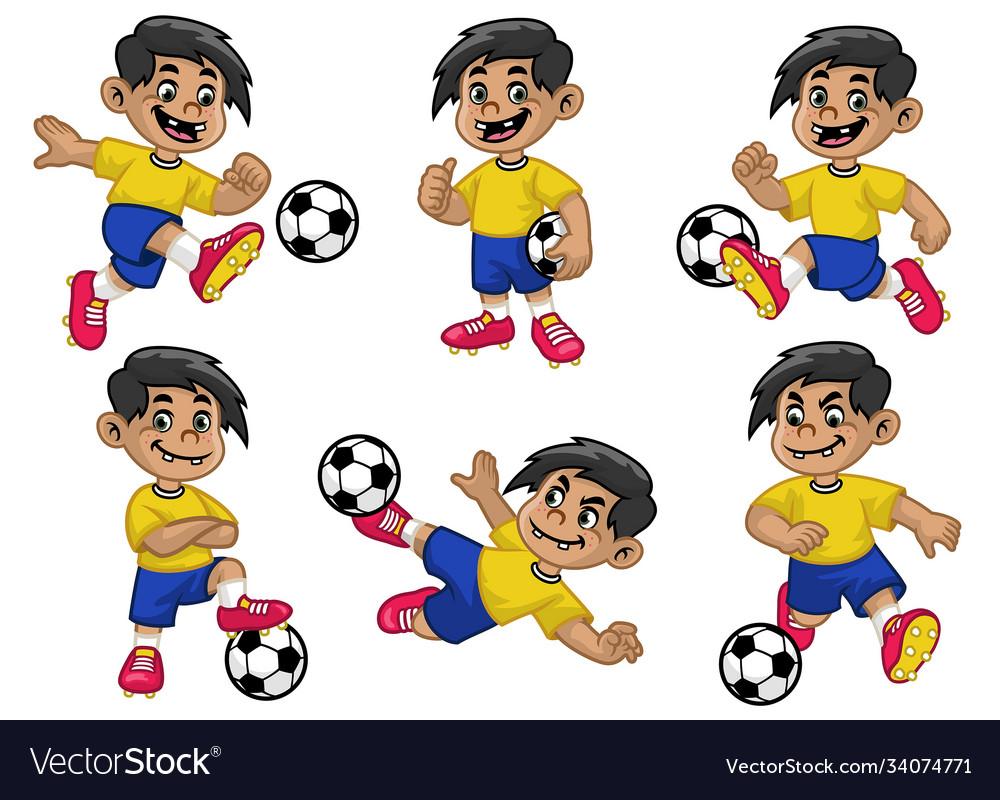 Set cartoon happy soccer player