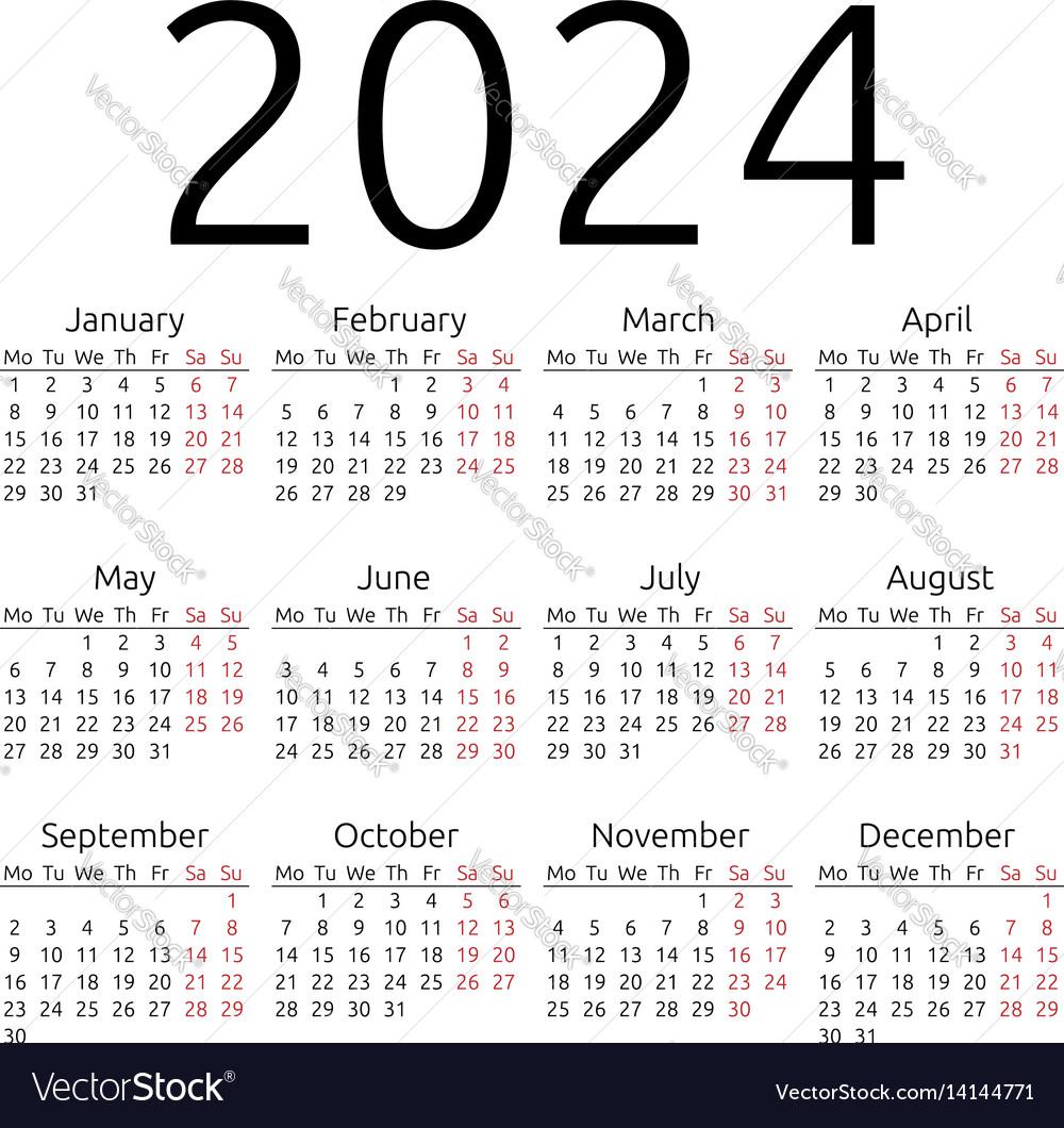 Simple calendar 2024 monday vector image