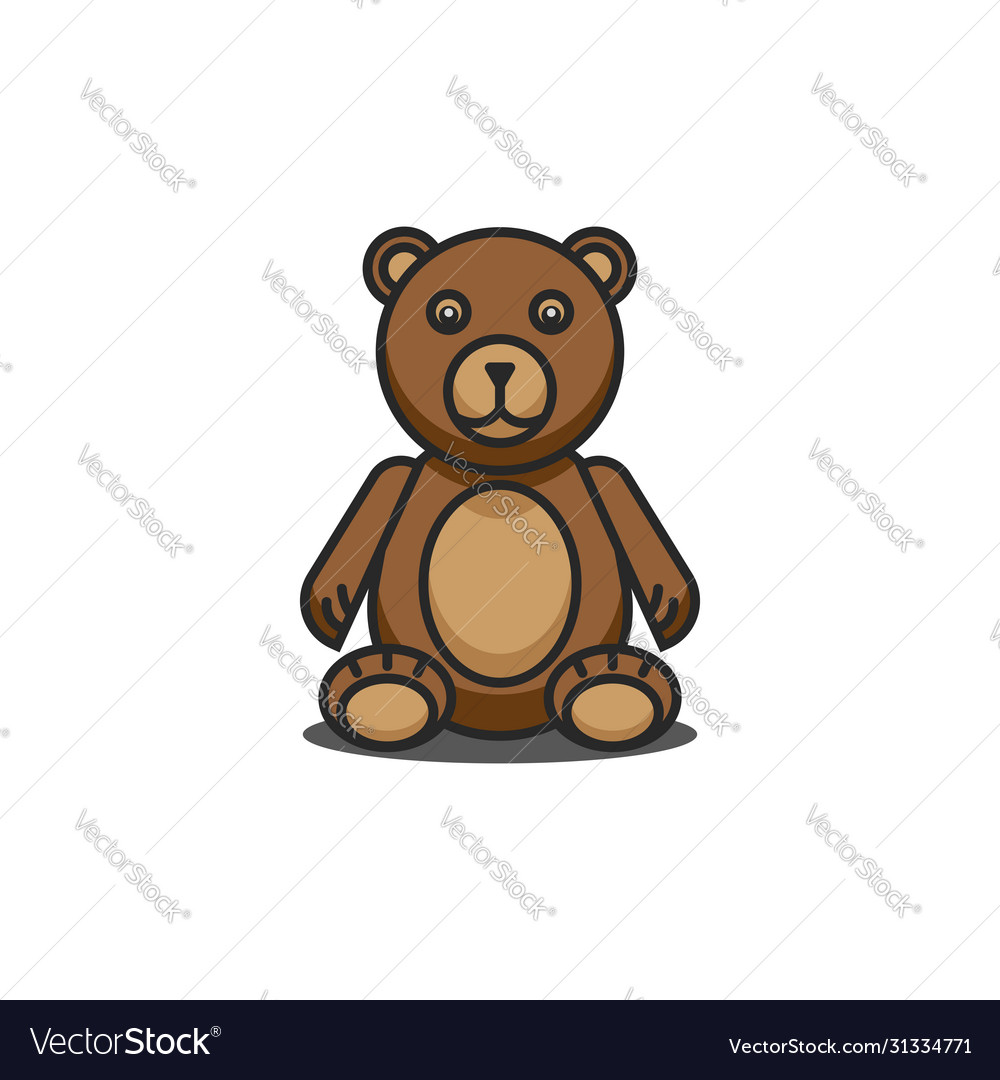 Teddy bear funny cartoon character sitting