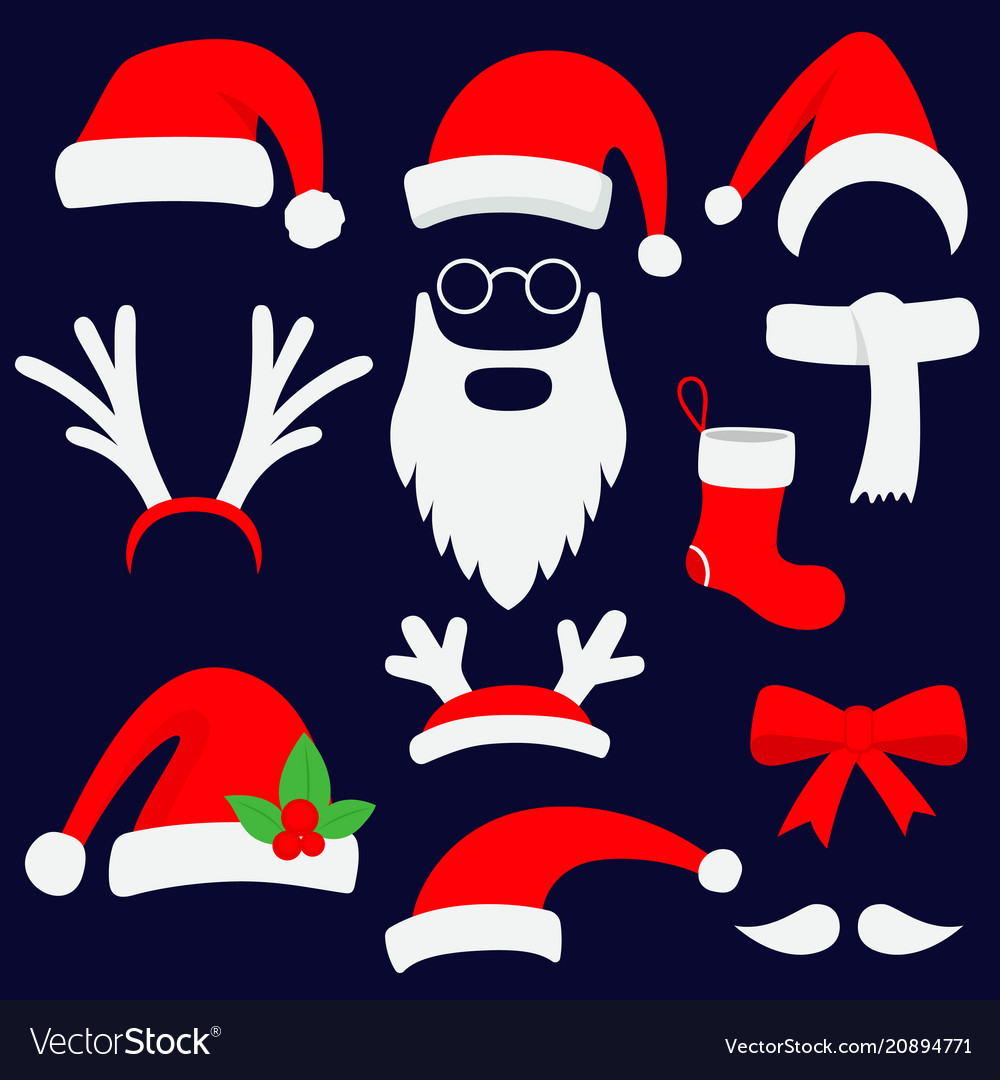 Three red santa hats horns mustache beard and