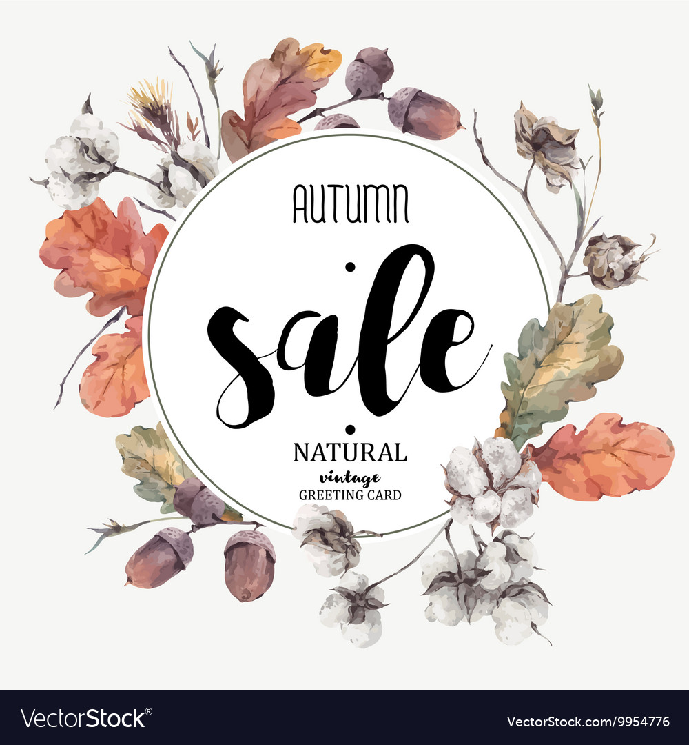 Autumn vintage cotton flower sale card
