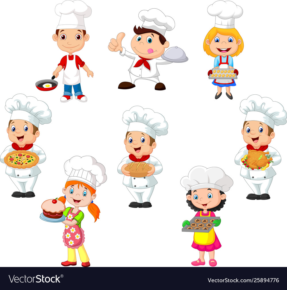 Collection children cook chef