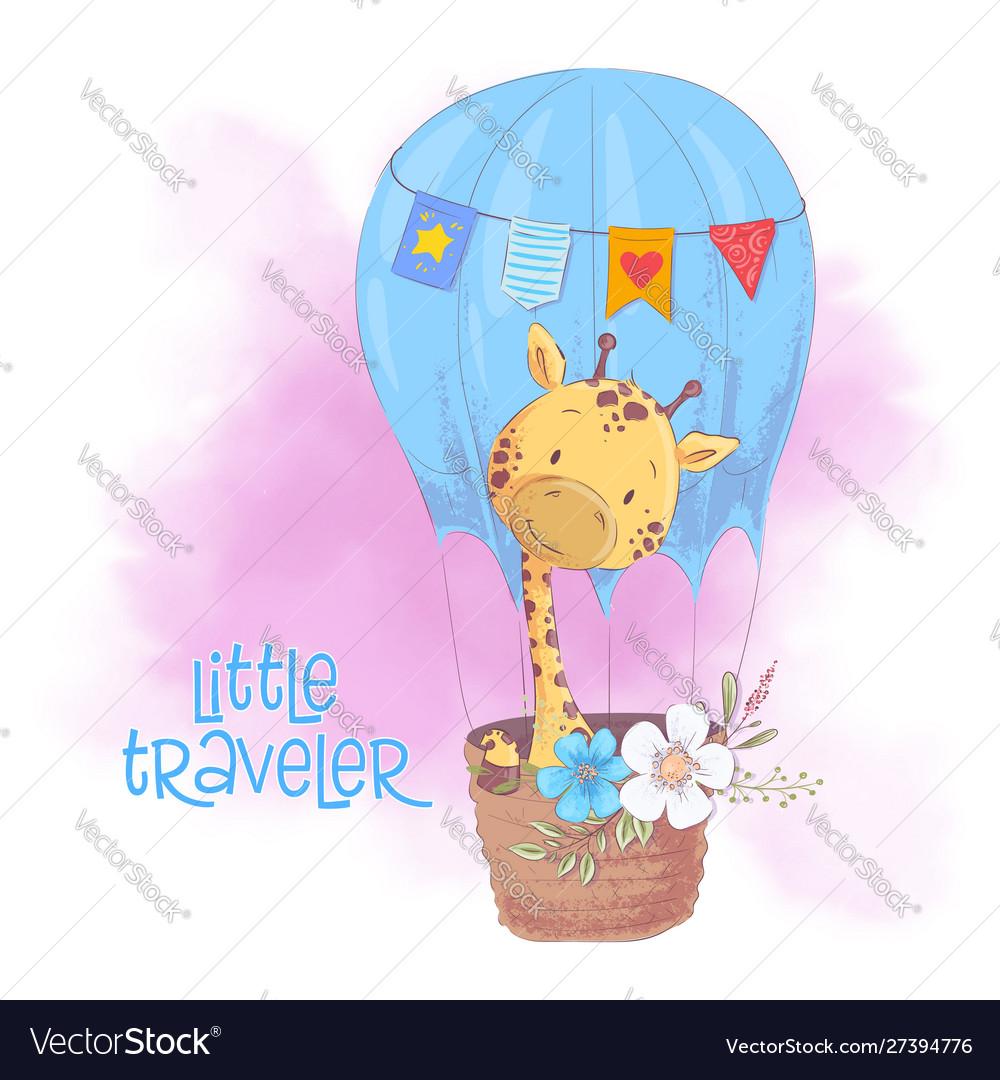Cute cartoon giraffe in a balloon with flowers