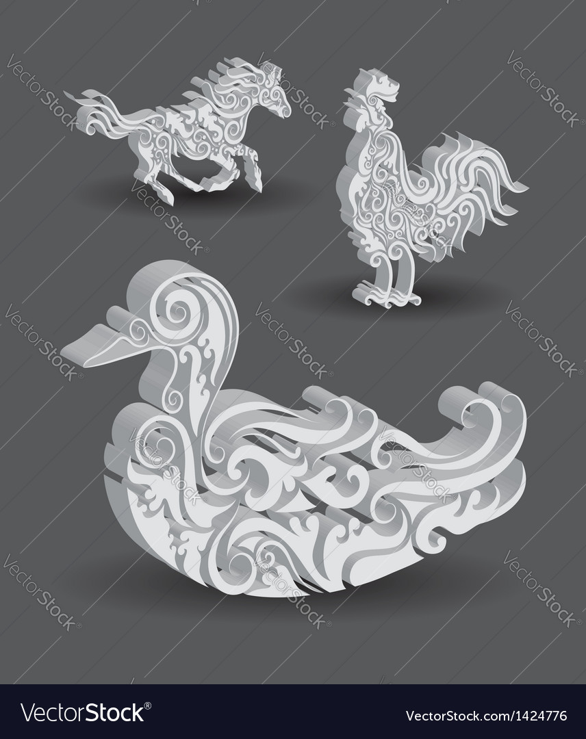Duck Horse Rooster Floral Decorations vector image