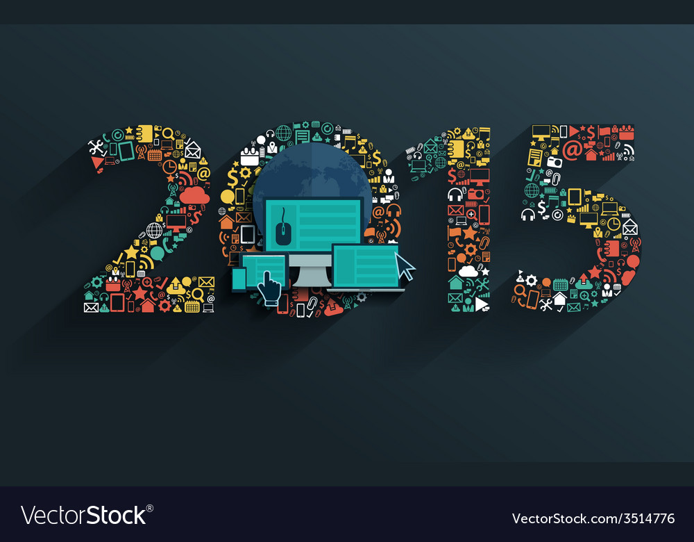 Flat concept set applications new year 2015 sign