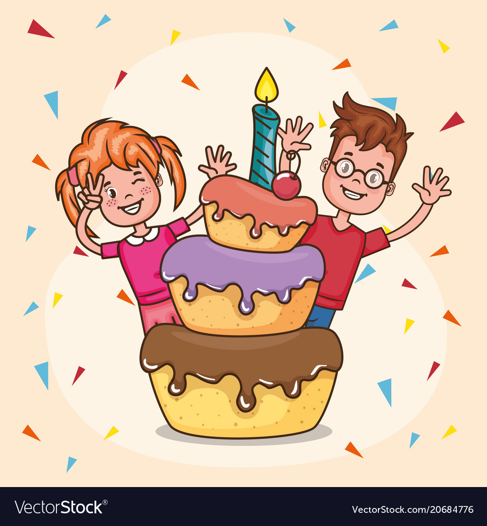 Wondrous Happy Birthday Card With Little Kids Royalty Free Vector Personalised Birthday Cards Paralily Jamesorg