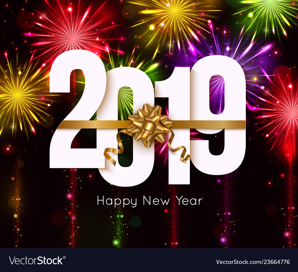 Happy new year 2019 background with bright