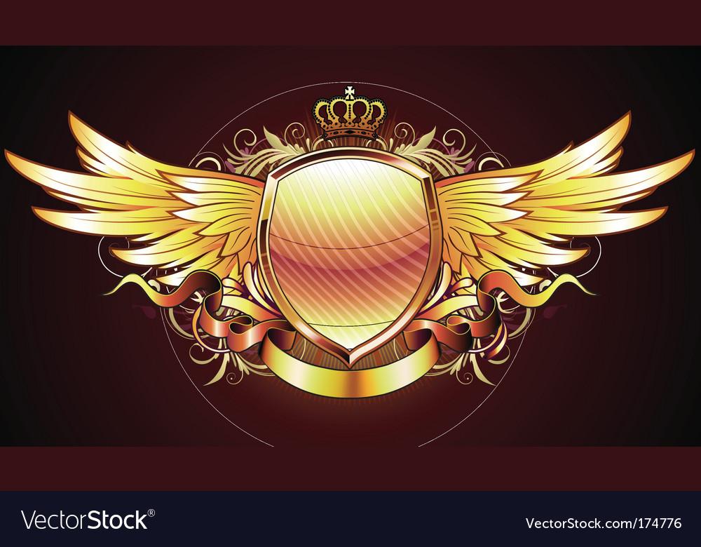 Heraldic golden shield vector image