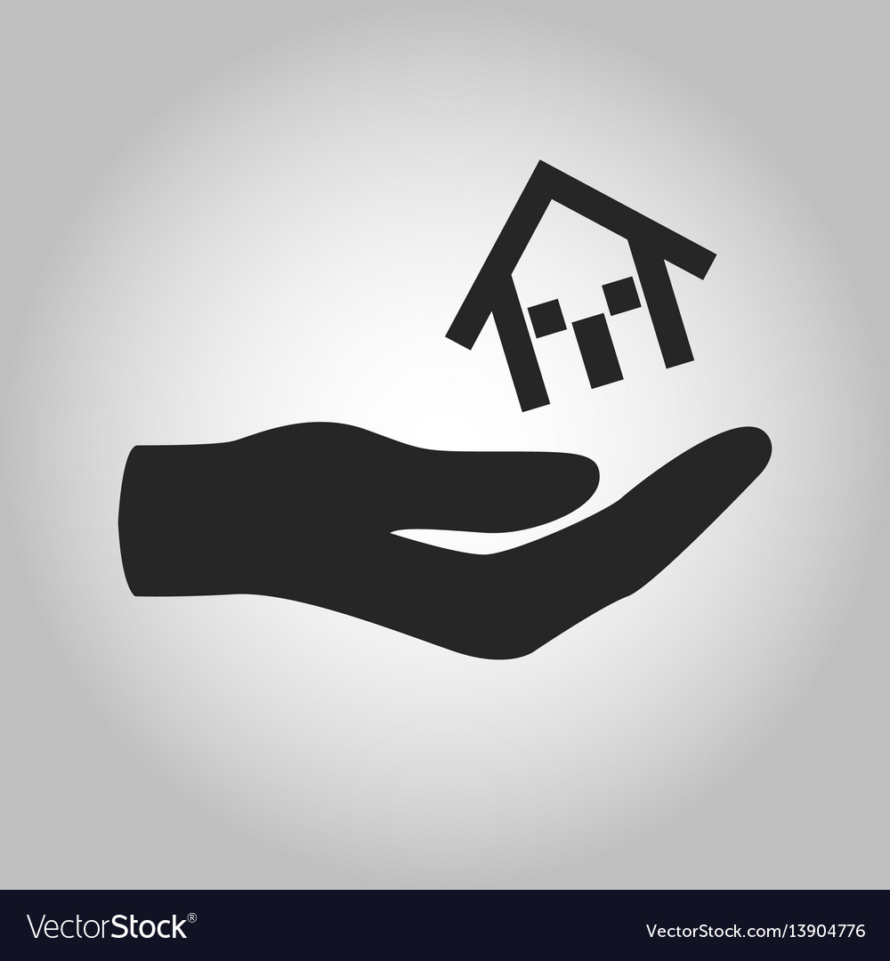 Icon hand holding house isolated