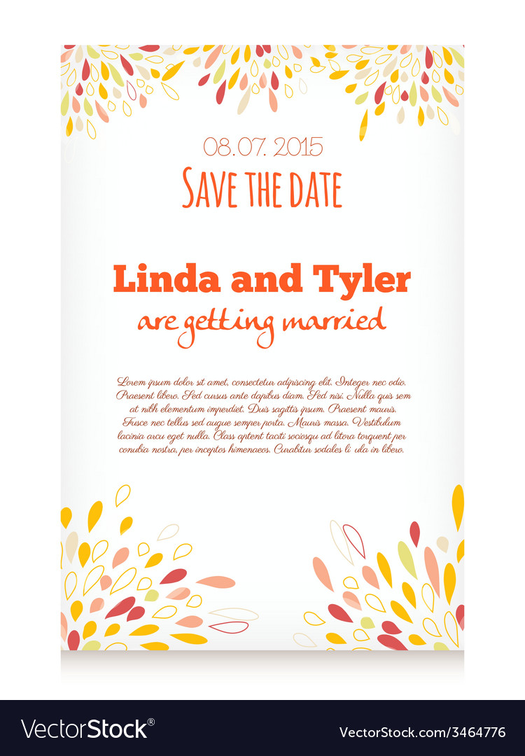 Invitation card with abstract splashes decoration