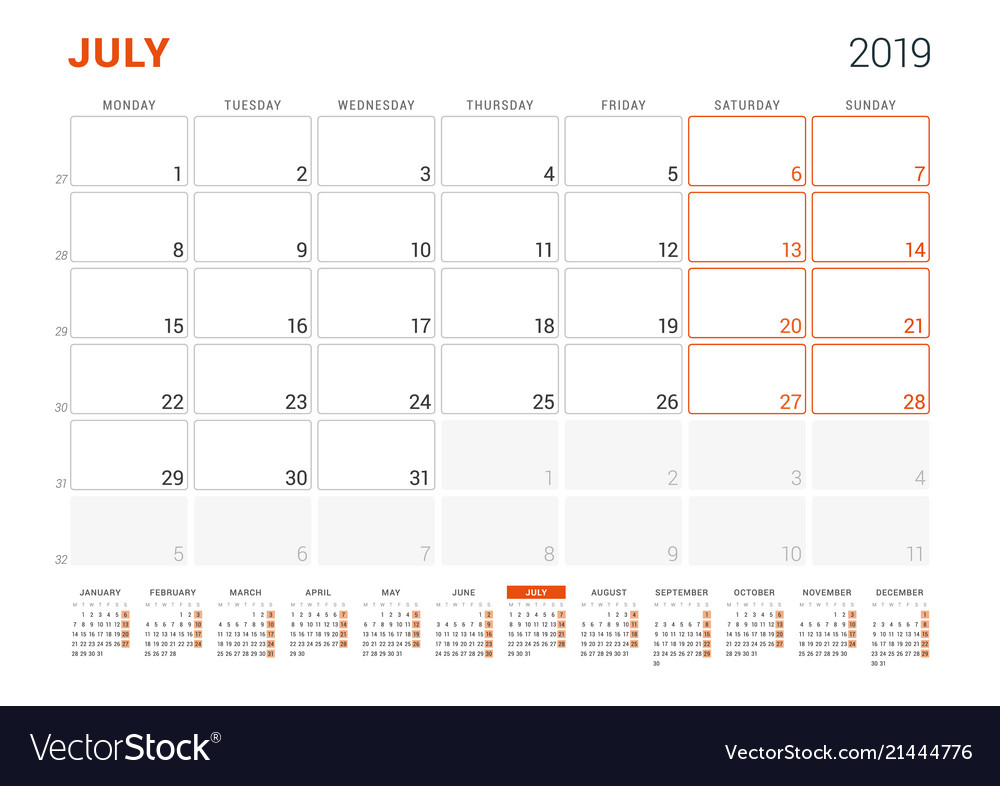July 2019 Calendar Planner For 2019 Year Design Vector Image