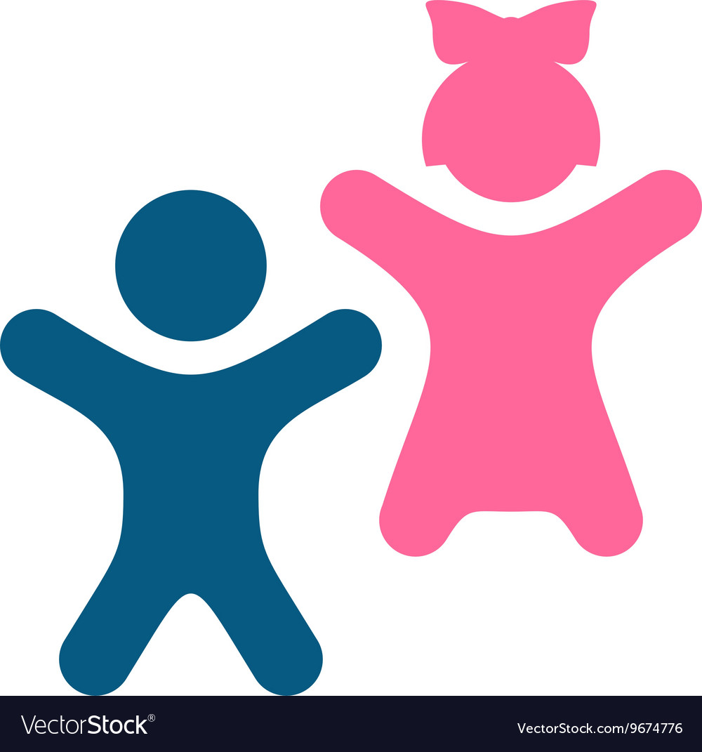 Kids icon Happy boy and girl children silhouettes