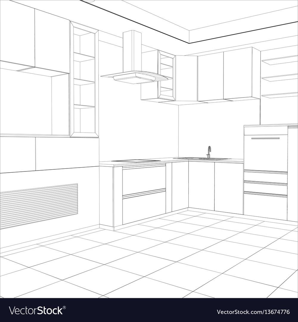 Kitchen sketch interior vector image