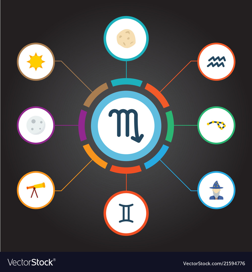 Set of astrology icons flat style symbols with