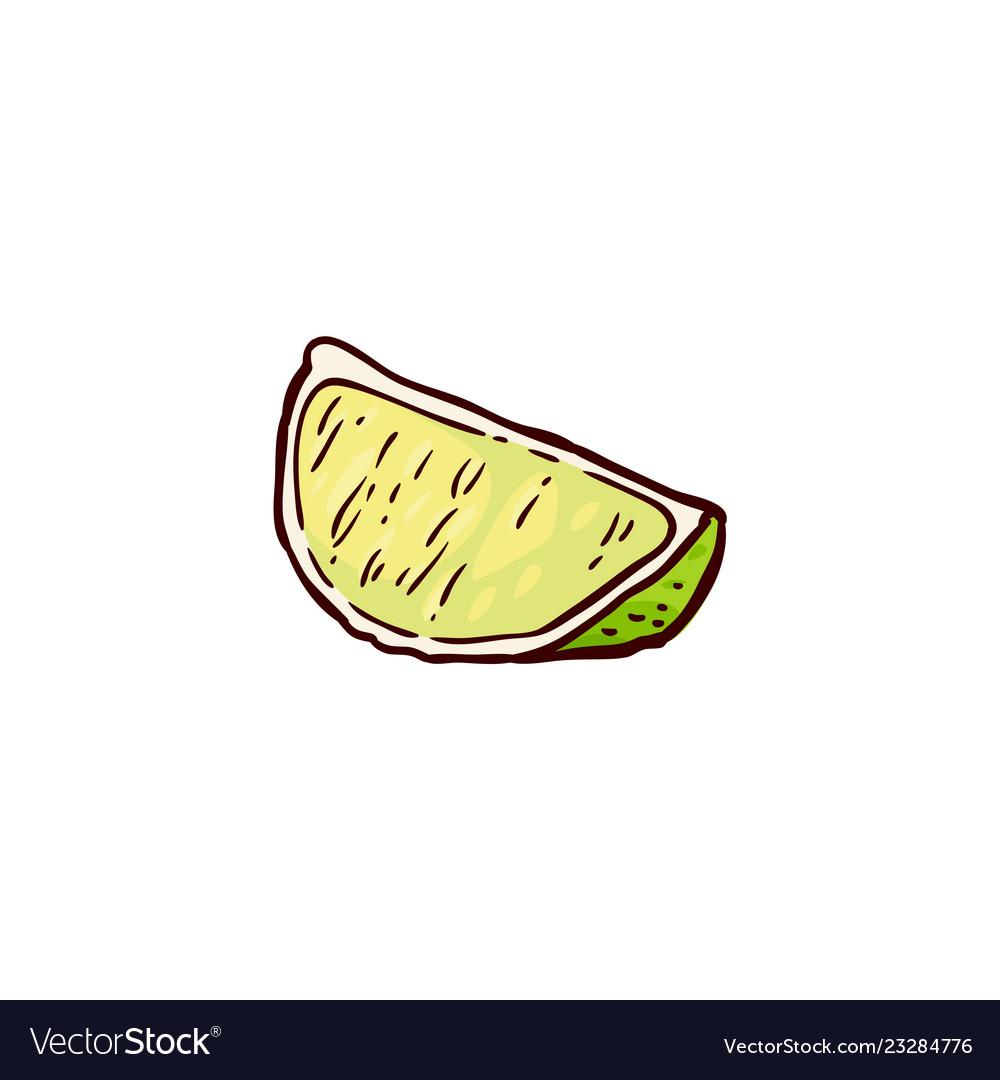 Sketch cartoon juicy slice of ripe lemon