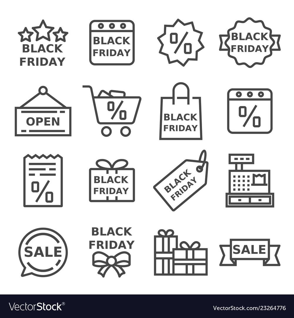 Thin line black friday icons set