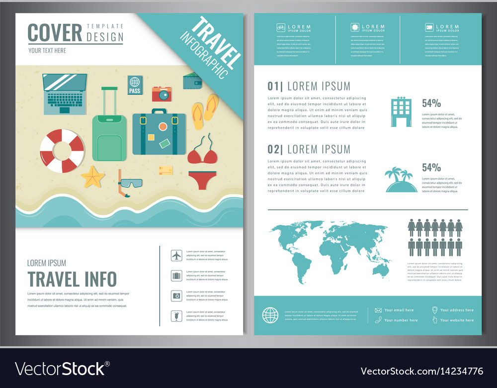 Travel Brochure Design Template For Travel And Vector Image