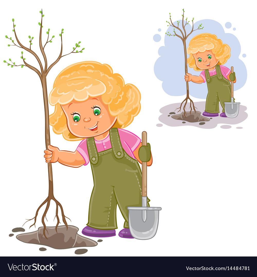 A little girl planting a