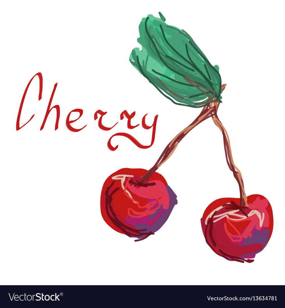 Abstract cherry on white background