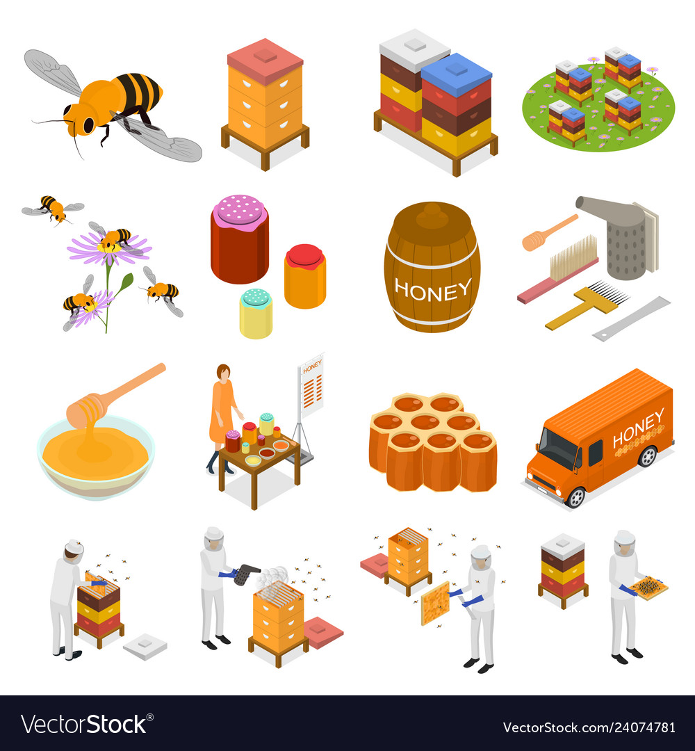 Apiary sign 3d icon set isometric view