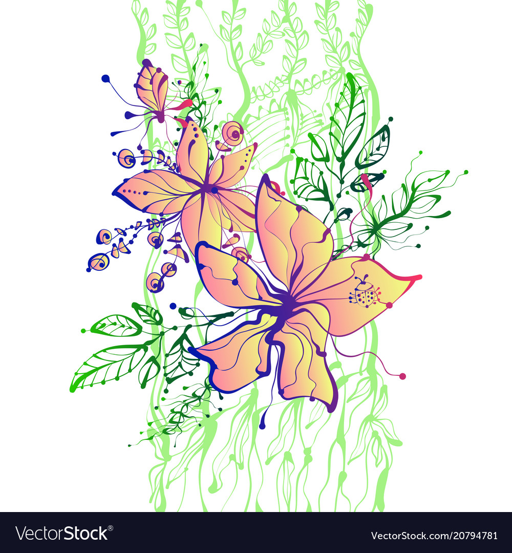 Bright fantasy hand drawn flowers
