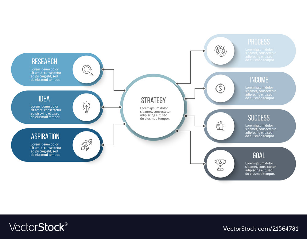 Business infographic organization chart with 7