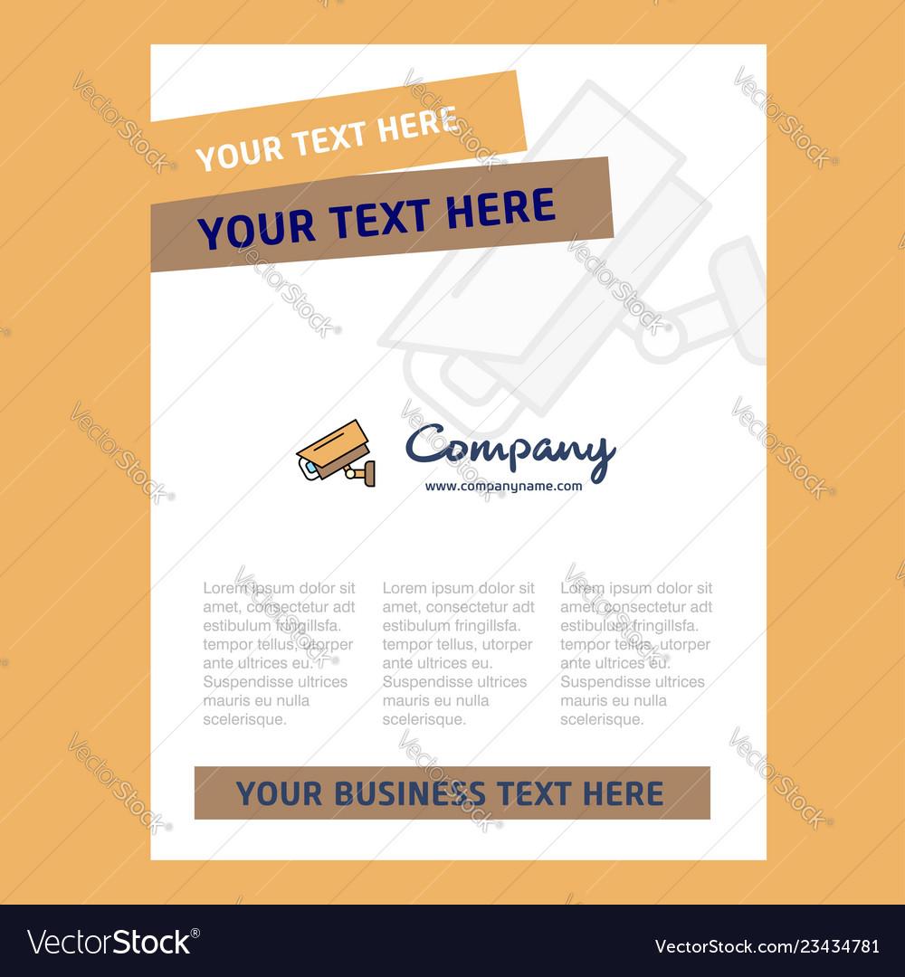 Cctv Camera Title Page Design For Company Profile