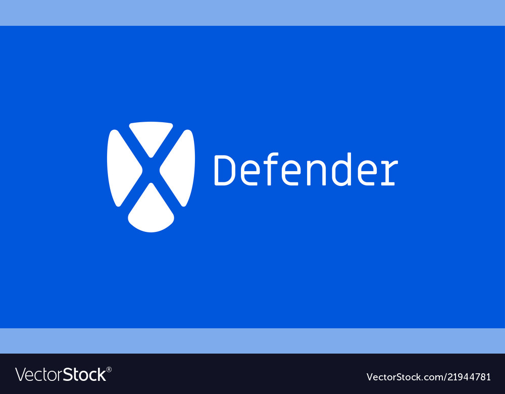 Defender x shield internet technology icon