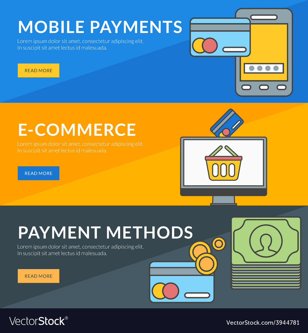 Flat design concept for mobile payments e-commerce