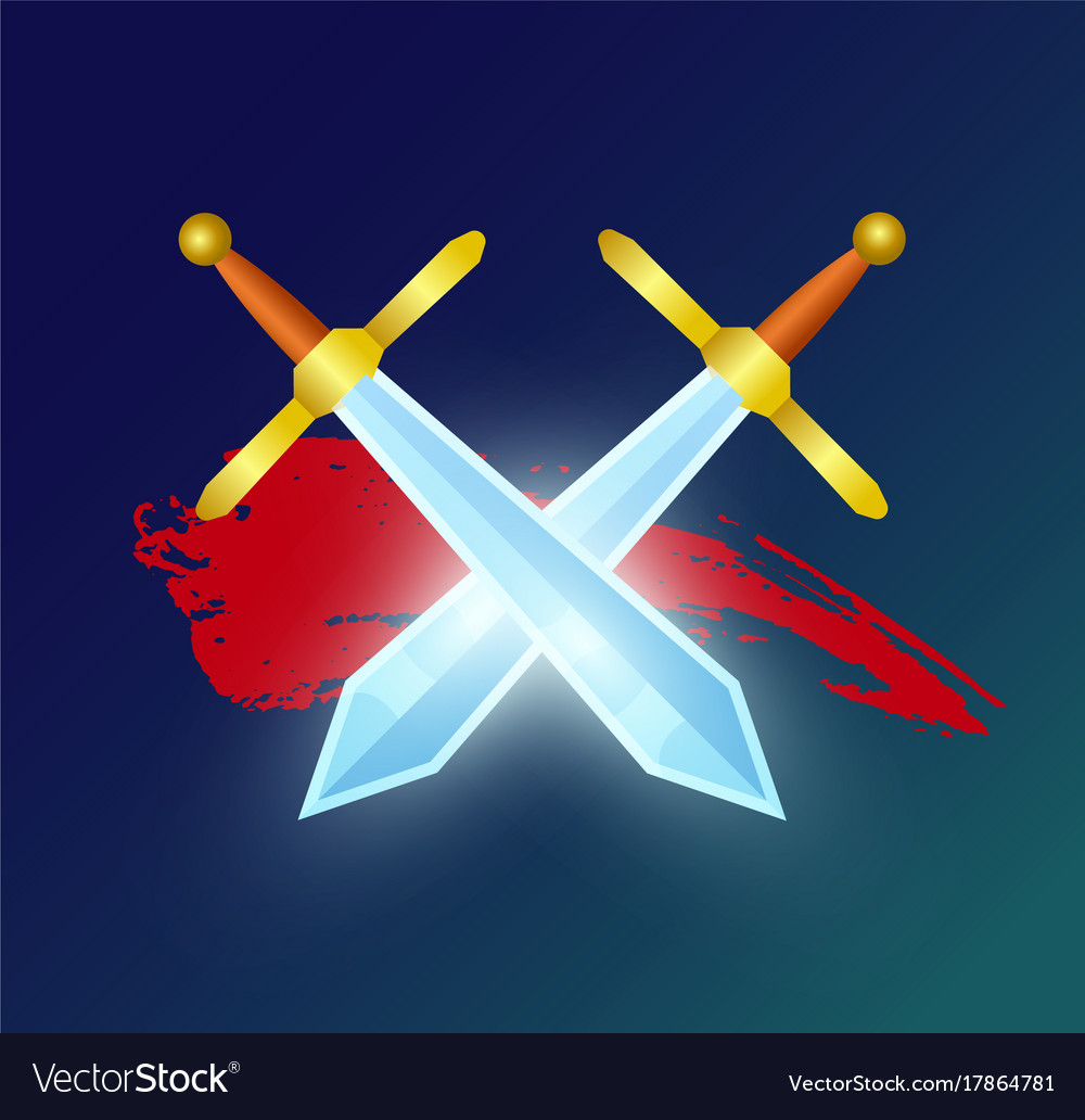 Game element with crossed magic swords
