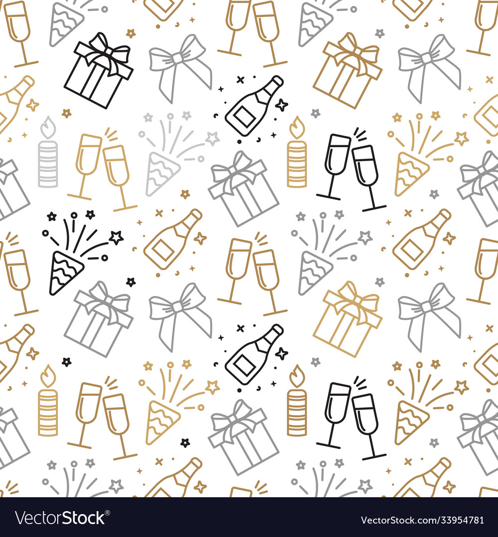 Gray and gold christmas seamless pattern with new
