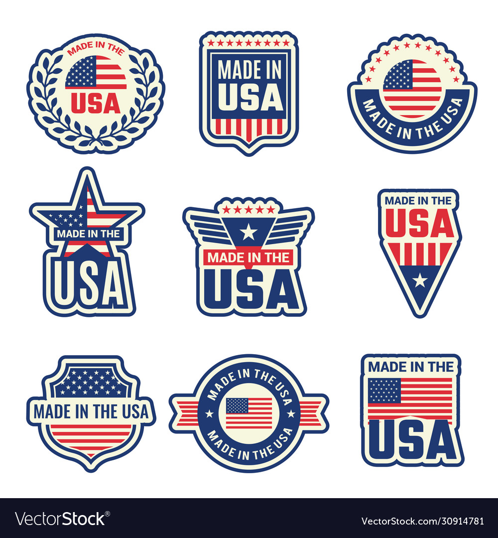 Made in usa national authentic labels or badges