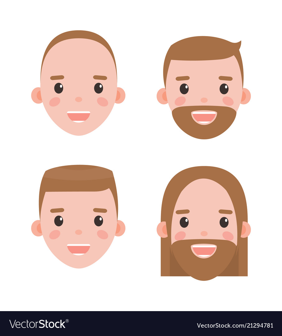 Male heads shaved and bearded with hairstyles set