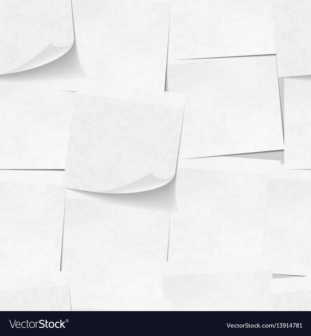 Realistic white sticky notes seamless pattern vector image
